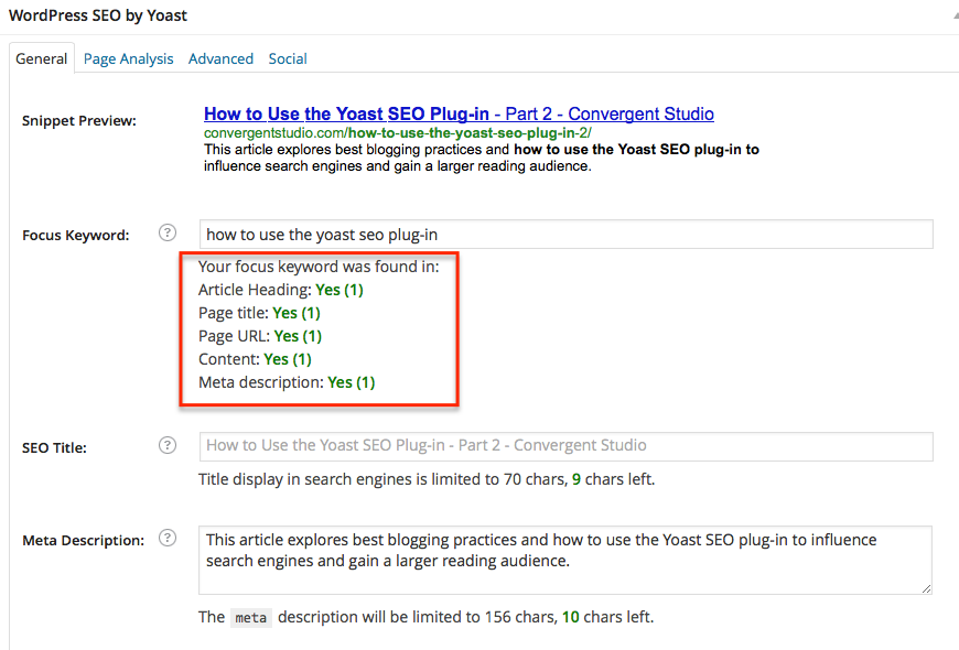 Yoast SEO Plug-in: Keyword Use