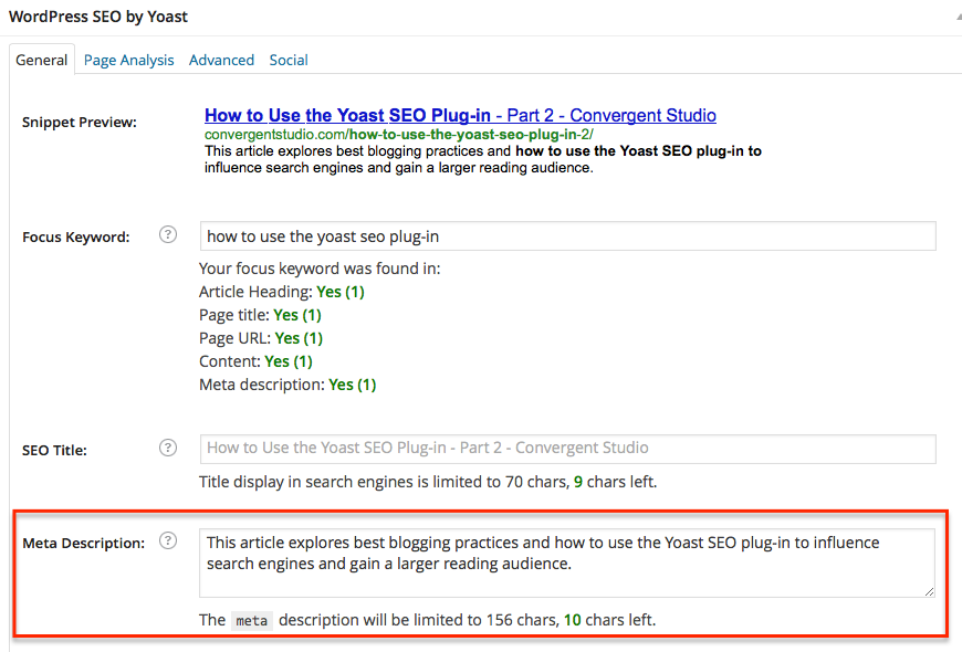 Yoast SEO Plug-in: Meta Description