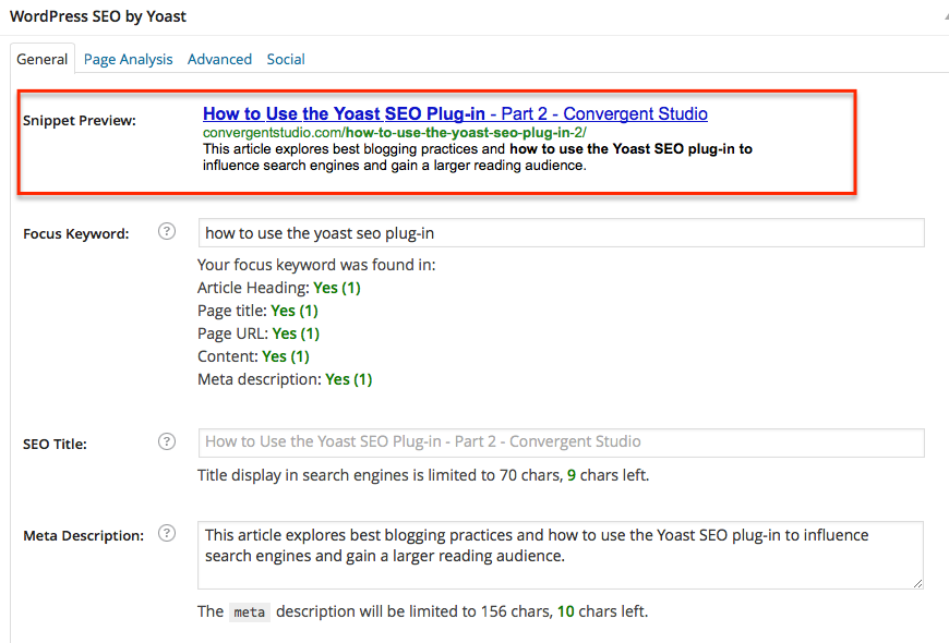 Yoast SEO Plug-in: Snippet Preview
